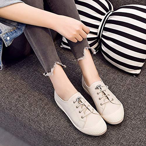 ZHZNVX Zapatos de Mujer de Cuero de Vaca Confort Zapatillas de Deporte Talón Plano Negro/Almendra Almond