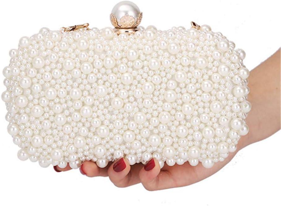 YFYBF Glitter Perla in Rilievo Pochette, Sera delle Signore Frizione di Cerimonia Nuziale della Borsa Pearl Dress Sacchetto del Pranzo Piccola Borsa da Damigella d'Onore Borsa,Argento Silver