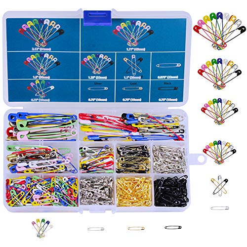 550Pcs Assorted Heavy Duty Colored Safety Pins, 7 Sizes Durable Metal Strong Safety Pins 19mm – 54mm for Home Office Use DIY Art Craft Sewing Jewelry Making with Storage Box