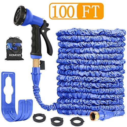 HOMOZE 100FT Expandable Garden Hose Pipe Expanding Flexible Water Hose with Solid Brass Connector/8 Function Spray Gun/Storage Bag (Blue-100)