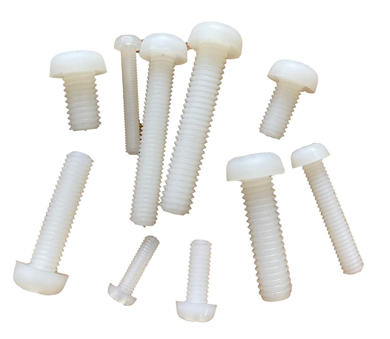 Lot de 20 vis en plastique pour lentille en nylon M3 M4 M5 M6 10 mm 20 mm 30 mm