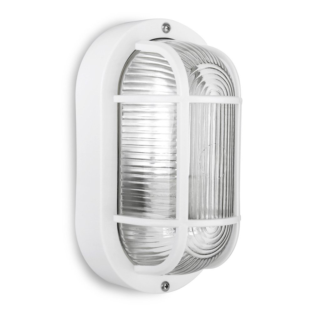 Modern Black Outdoor Garden Security Bulkhead Wall Light IP44 Rated - Complete with a 10w LED GLS Bulb [6500K Cool White] MiniSun