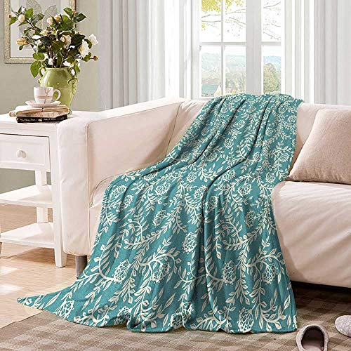 """Leaftravel blanketOld Fashioned Floral Pattern with Scroll Inspired Design Ethnic Blooming Branchesthrow Blanket for Couch 60""""x36"""" Pale Blue Cream"""