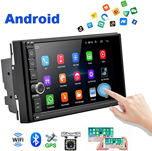 Android Car Radio Double Din Car Stereo with GPS 1080P 7 inch Touch Screen Bluetooth FM Receiver Support WiFi Connect Mirror Link for Android iOS Phone Backup Camera