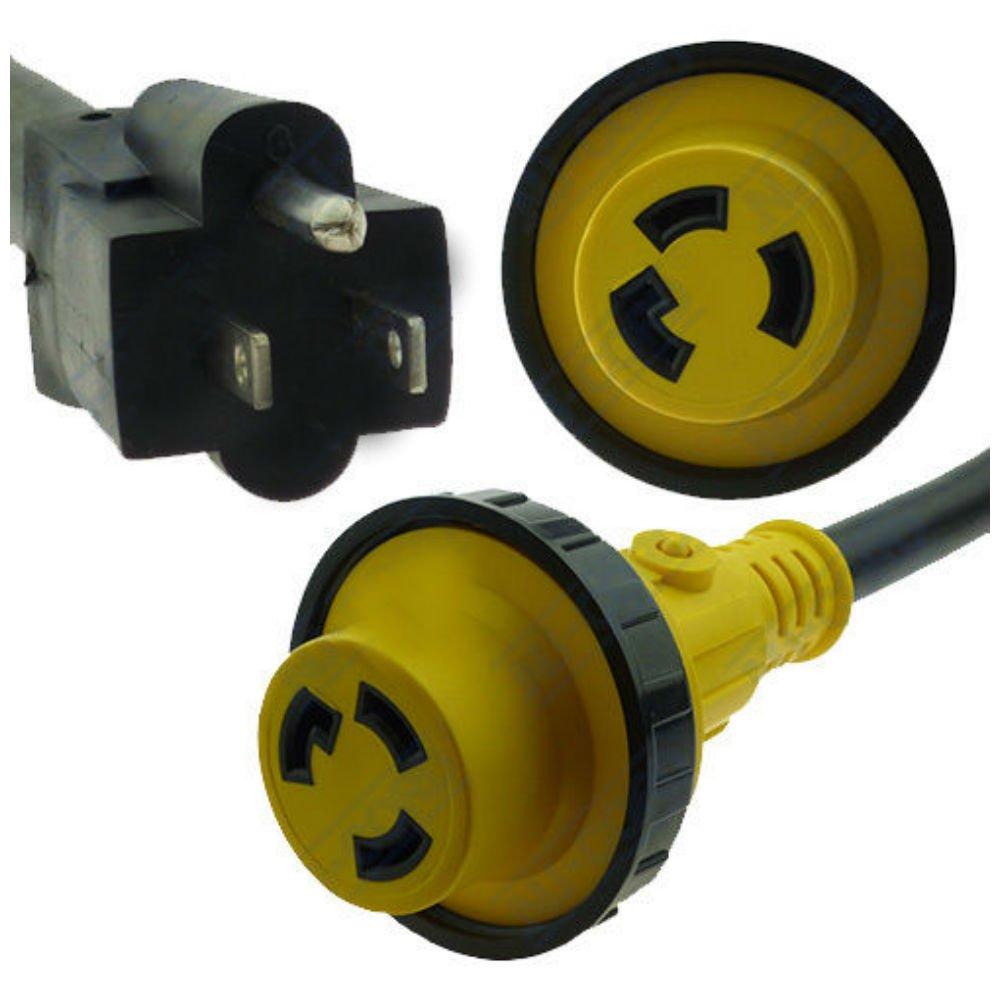 RV Power Cord Adapter 15 amp Male 5-15P to 30 amp Twist Lock Female L5-30R