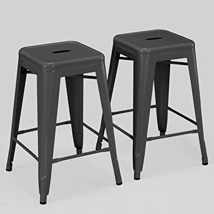Superb Modhaus Living Set Of 2 Charcoal Gray French Bistro Tolix Style Metal Counter Stools In Glossy Powder Coated Includes Tm Pen Gmtry Best Dining Table And Chair Ideas Images Gmtryco