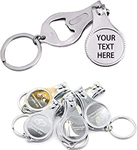 100pcs-Personalized 4 in 1 Multi Function Bottle Opener, Nail Clipper, Wedding Favors Brewery, Private Customized, Sliver, Multitool Gifts for Men