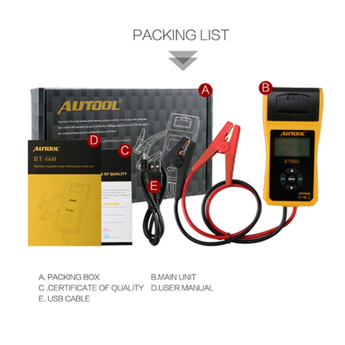 AUTOOL BT660 CCA 100-3000 12V/24V Battery Load Tester, Car Cranking and Charging System Analyzer Scan Tool with Printer for Heavy Duty Trucks, Cars, Motorcycles, Boats by AUTOOL (Image #7)
