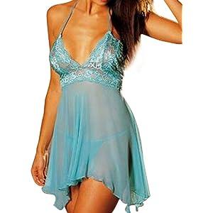 Goddessvan Womens 2Pcs Sexy Plus Size Lingerie Lace Dress Temptation Underwear Set