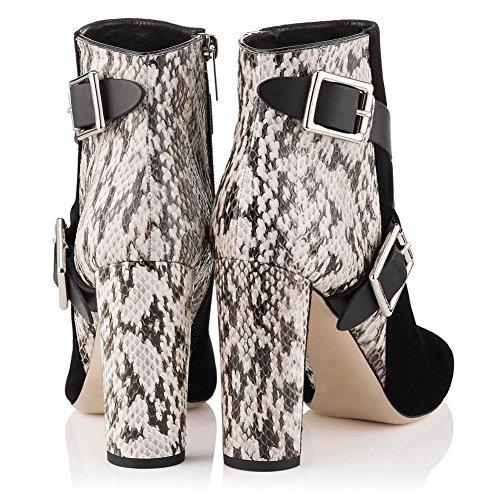 Métal Chaussures Couture Cheville BLACK NVXIE Talon Suede Femmes Bouton Rugueux Sangles Cross Printemps Bottes Hiver Automne Cuir Pointu EUR36UK354 Noir nP44zXqwS
