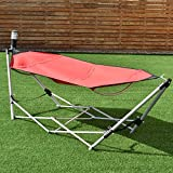 Description:  Our portable folding hammock is perfect for companion for camping trips, relaxing poolside, hanging out in the backyard or even at home. Be made of solid steel frame, this hammock stand is sturdy and durable. Folds conveniently to fit i...