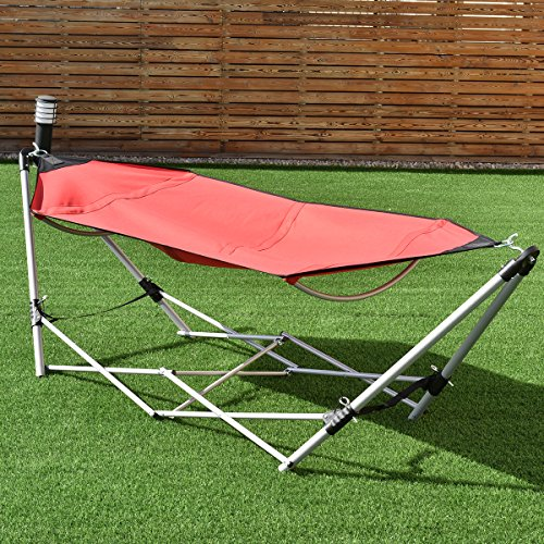 Giantex Portable Hammock with Stand, Folding Lounge Camping Bed with Carry Bag for Camping Outdoor...