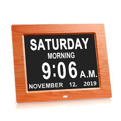 Reloj Digital diurno de 7 Pulgadas Calendario Inteligente Extra Grande Día y Mes no abreviados para