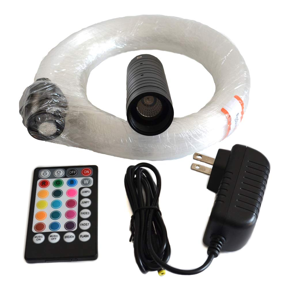 LED Fiber Optic Star Ceiling Light Kit 6W RGB with Music Mode Remote Controller,300pcs 0.75mm/0.03in 6.5ft/2m