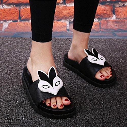 Elevin (tm) Donna Estate Moda Sexy Bohemia Peep-toe Pantofole Piatte Sandalo Scarpe Nere