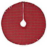 Jasper Woven Red Plaid Christmas Tree Skirt, 48 Inches,...