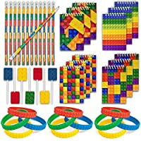 Building Blocks and Brick Party Supplies Kit, Includes: 12 Bracelets, 12 Mini Notepads, 12 Pencils, 12 Candy Suckers, Great for Kids Birthday Party Favors and Prizes