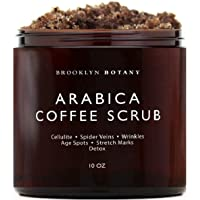 Brooklyn Botany Arabica Coffee Body Scrub & Face Scrub - 100% Natural - Coconut and Shea Butter - Best Anti Cellulite & Strtch Mark Treatment, Spider Vein Theraphy for Varicose Veins & Eczema- 10 oz