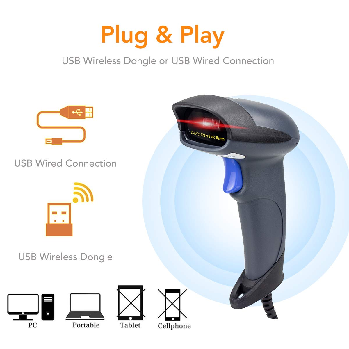 Handheld Wired 1D 2D QR Bar Code Price Scanner with USB Cable for POS PC Laptop Computer Support Windows// Mac OS System Excel and other Software Barcode Scanner POS Laser Reader