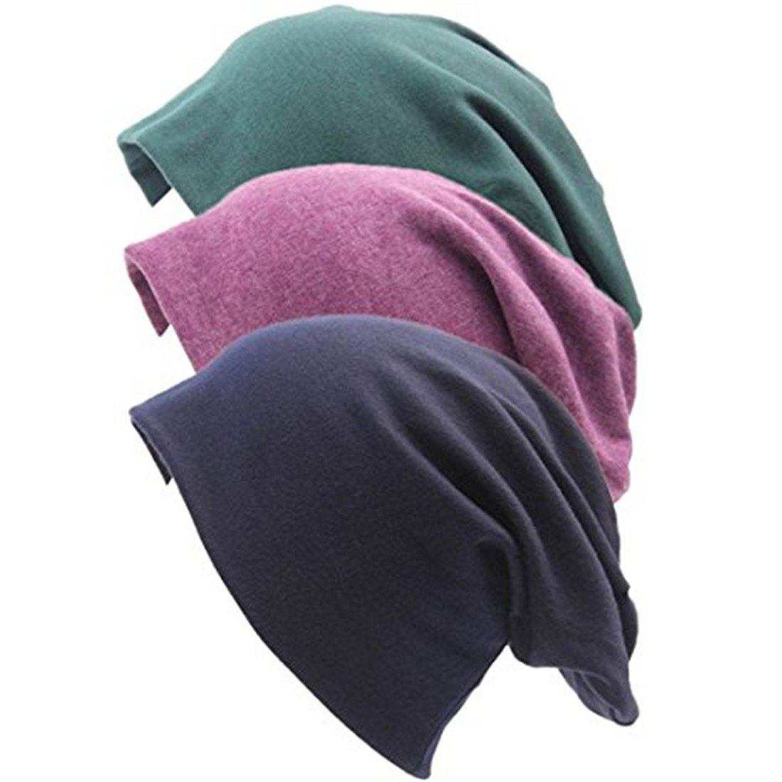 Lydreewam Fashion 3 Pack Unisex Soft Comfy Cotton Beanie Sleep and Chemo Cap Hats for Hairloss, Cancer