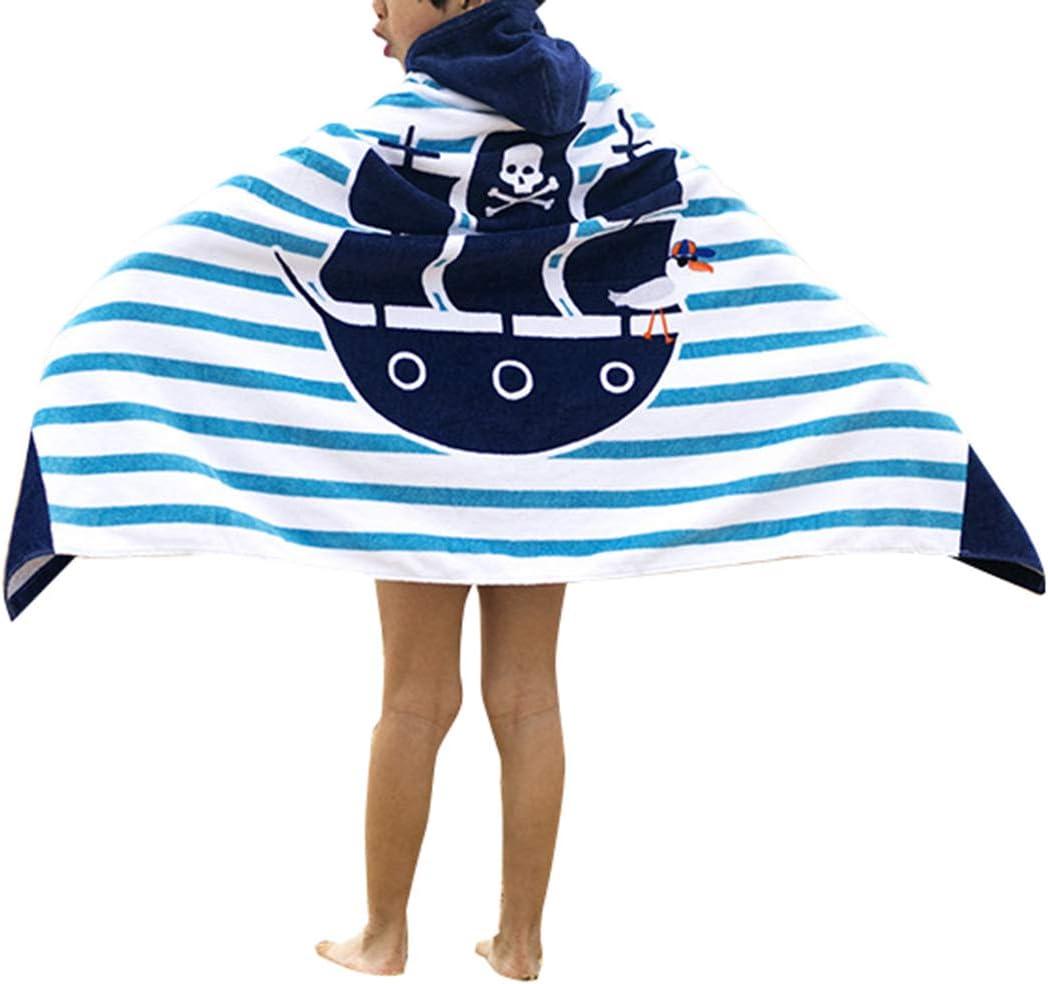 Bateau Pirate 76cm Ymwave Poncho Serviette de Bain avec Capuche Enfant 100/% Coton Poncho /à Capuche Les Gar/çons Les Filles Bande Dessin/ée Peignoir /À Capuche 127