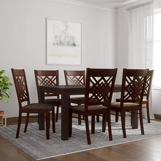 Woodness Mantra 6 Seater Premium Solid Wood Dining Table Set  Matte Finish, Wenge  Dining Room Sets
