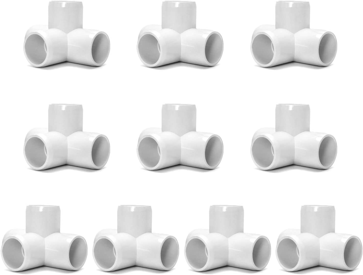 "QWORK 4 Way 1/2"" Tee PVC Fitting Elbow,10 Pack PVC Fitting Connector,Furniture Grade, for Building Furniture and PVC Structures, White"