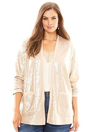 Amazon.com: Roamans Women's Plus Size Sequin Cardigan: Clothing