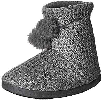 Isotoner Women's Shaker Knit Myrna Boot Slipper, Charcoal Heather, Large/8-9 M US