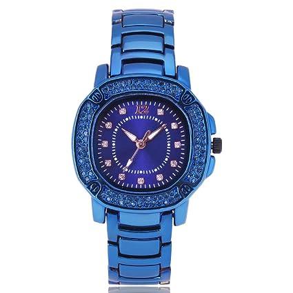 Slri SIridescentZB Reloj Mujer Rhinestone Brillante con Incrustaciones de aleación Banda de Cuarzo analógico Azul