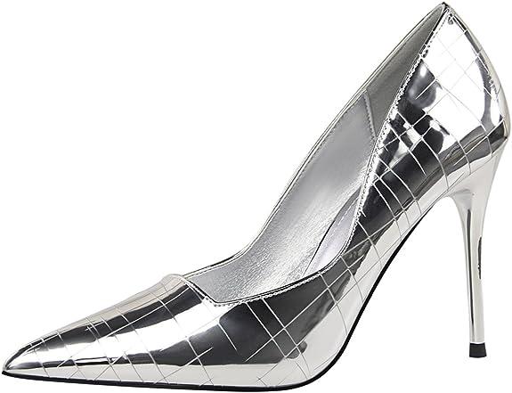 TALLA 40 EU. Tacones Altos Mujer Vestido Zapatos de tacón De BIGTREE Tartán Stiletto Dedo del pie Puntiagudo Zapatos de tacón Zapatos