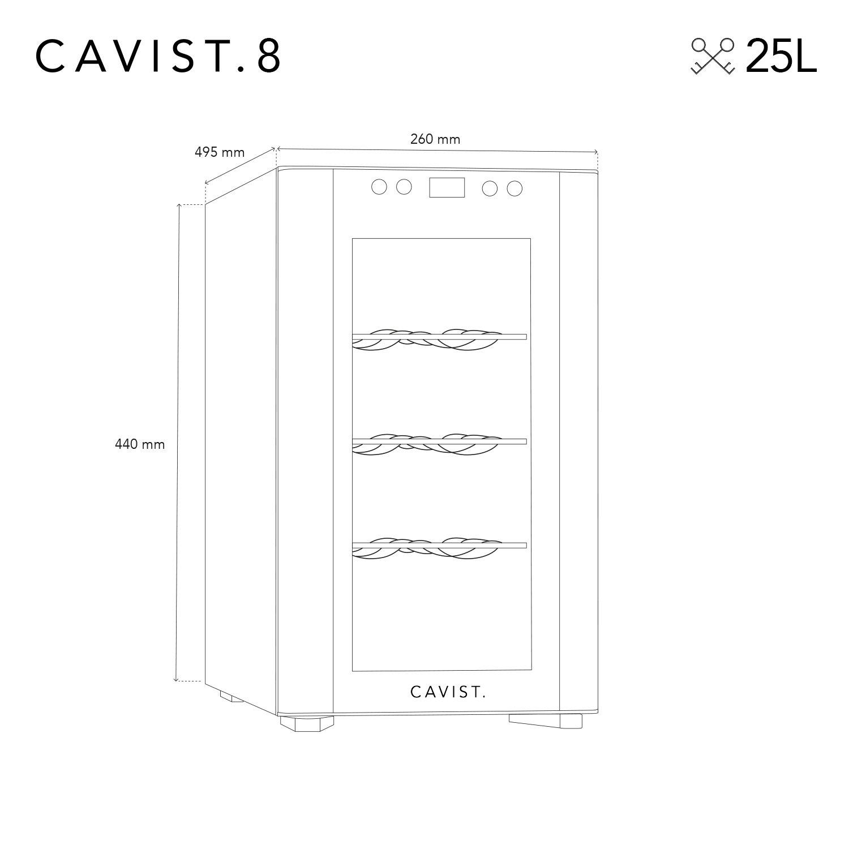 Cavist CAVIST.8 Vinoteca para 8 Botellas Acero Inoxidable Plateado