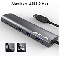 USB 3.0 Hub Wavlink 3 Port USB Aluminum Hub with SD/TF and Micro SD Card Reader for MacBook Pro 2015 MacBook Air Windows Laptops