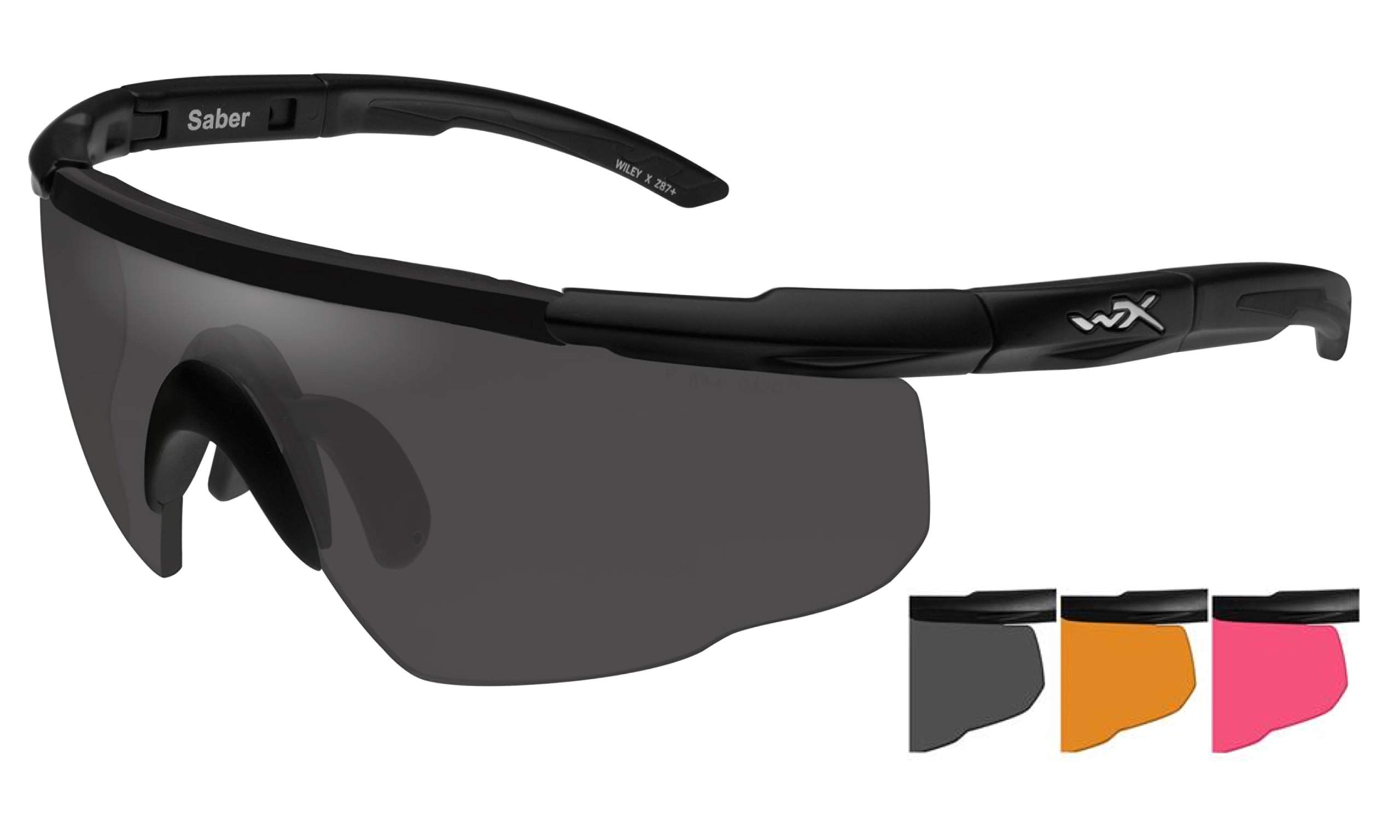 Wiley X Saber Advanced Sunglasses, Smoke Grey/Light Rust/Vermillion, Matte Black by Wiley X