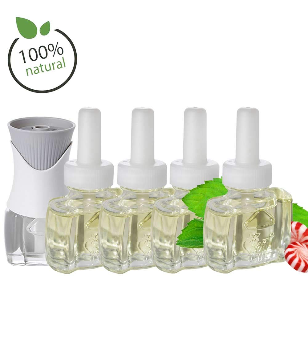 (4 Pack) Scent Fill® Brand 100% Natural Peppermint Refills and (1) Air Wick® Warmer