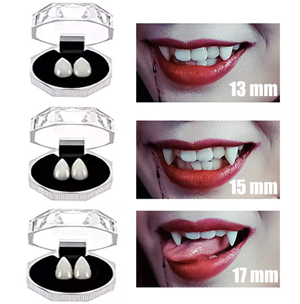COOLJOY 3 Pairs Vampire Teeth fangs Halloween Party Cosplay Props Horror False Teeth Props Party Favors Cosplay Accessories