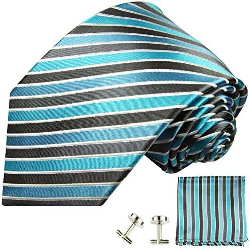 Paul Malone Necktie, Pocket Square and Cufflinks 100% Silk Turquoise Black Stripes