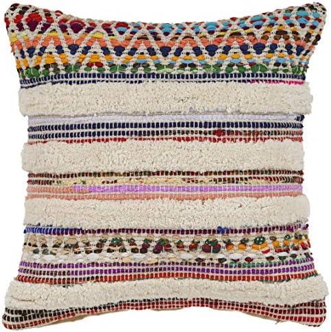 LR Resources PILLO07343MLNIIPL White Chevron Striped Throw Pillow, 18 x 18 , Multi Natural