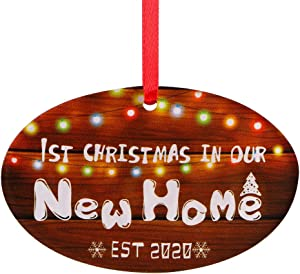 "SICOHOME First Christmas in Our New Home 2020,3"" Rustic Keepsake Ornament,Double-Side Printed"