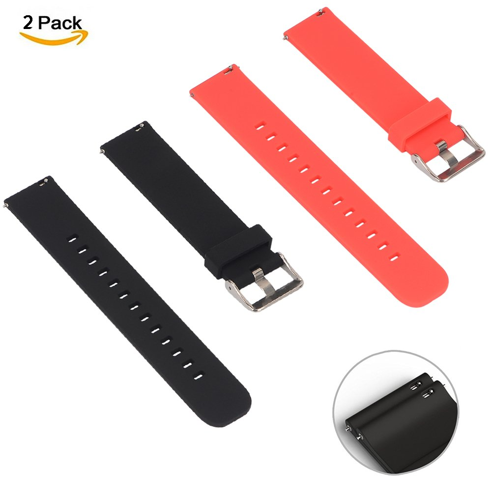 2-Pack V.one Universal 20mm Sport Silicone Band Strap for Samsung Gear S2 Classic and Moto 360 2nd Generation 42mm and more Moto-Strap-20-BLU/&BLK
