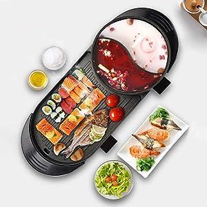 Electric Grill Indoor Hot Pot Multifunctional Non-Stick Ourdoor Korean BBQ Smokeless