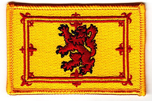 (SCOTLAND FLAG, Iron On Embroidered Applique Patch, Royal Coat of Arms w/Lion)