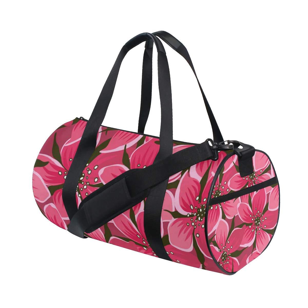 OuLian Women Gym Bag Tropical Flower Pattern Mens Camp Duffel Bags Duffle Luggage Travel Bag