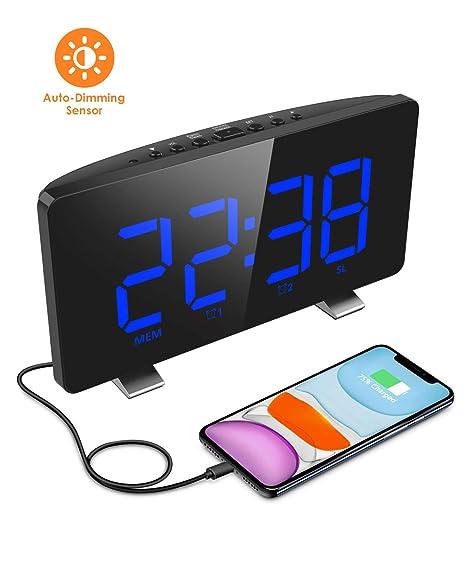ELEGIANT Despertador Digital, Radio Reloj Despertadores Digitales, Pantalla LED, Atenuador Automático, 4 Brillos, Alarma Dual, 12/24 Hora, USB Puerto ...