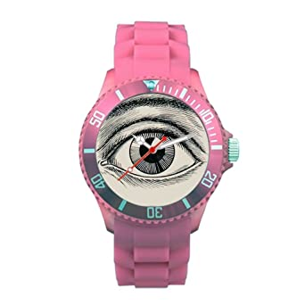 Eye Plastic Watch Bands Vision Plastic Vintage Wrist Watches Pink