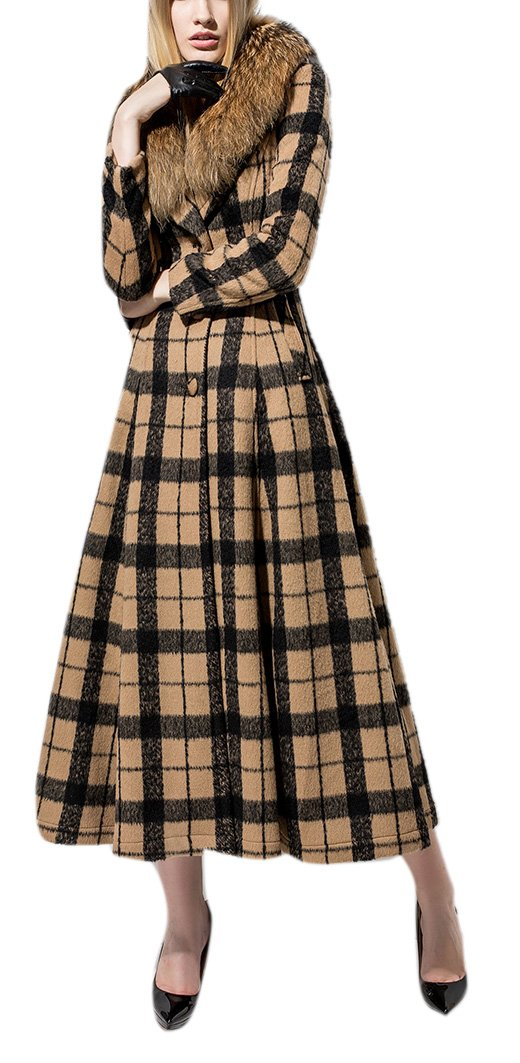 Youtobin Women's England Plaid Style Faux Fur Collar Wool Long Coat S Plaid by Youtobin