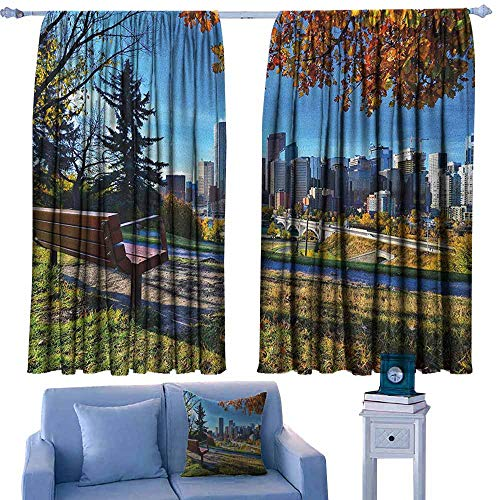 Thermal Insulated Blackout Curtains,City Park Bench Overlooking the Skyline of Calgary Alberta During Autumn Tranquil Urban,Thermal Insulated Light Blocking Drapes for Bedroom,W72x45L Inches Multicol]()