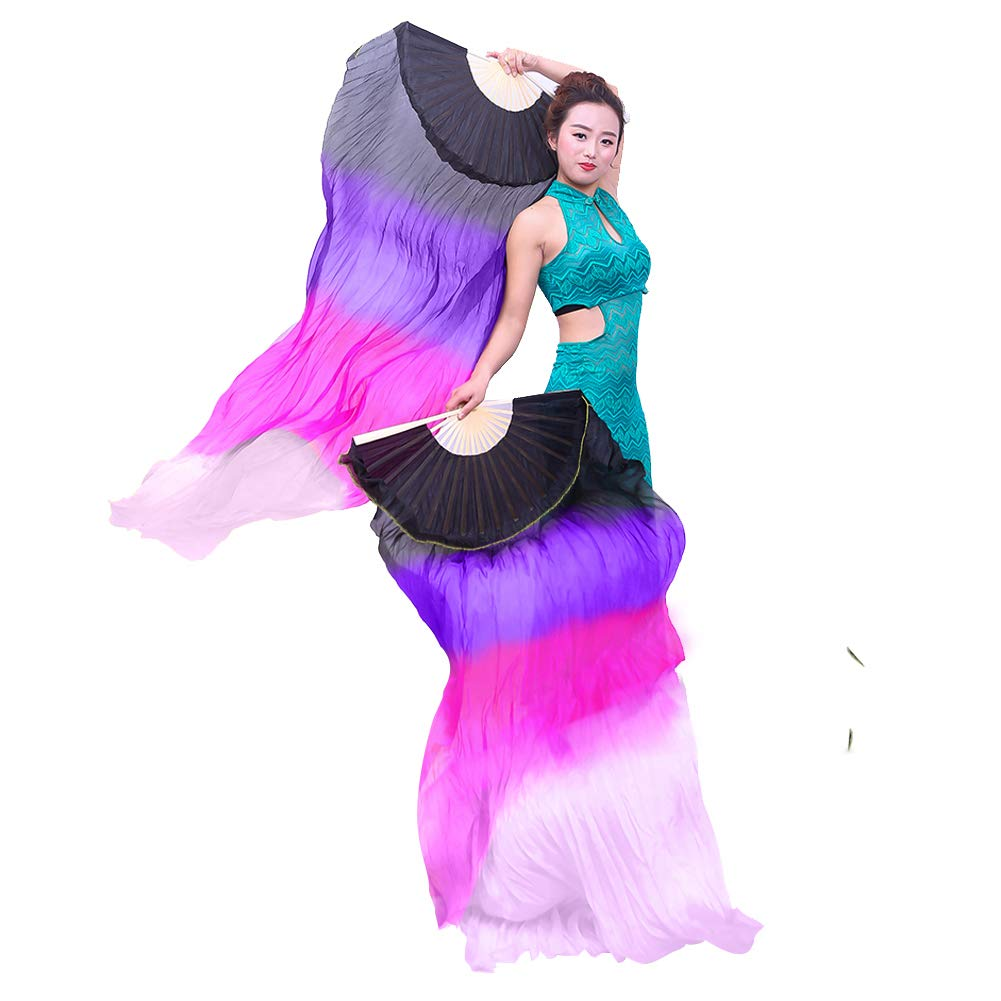 Yuccer Silk Fan, 1.5M Dance Fans Colorful Veil Hand Made Belly Fans Folk Art for Dancing Performance Party Stage, Right Hand (Black + Purple + Rose red + White) by Yuccer (Image #2)