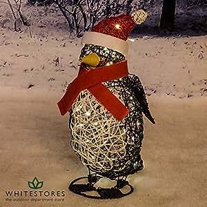 Tri Flora - 60cm Outdoor PVC Rattan Christmas Penguin Figure - Battery Operated