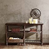 ModHaus Living Industrial Rustic 54 inch Sofa Console Table with Spacious Shelves in Coffee Brown Finish - Includes Pen